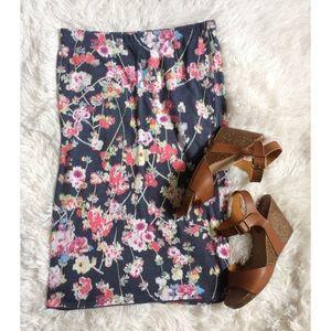SOPRANO grey floral bodycon pencil skirt