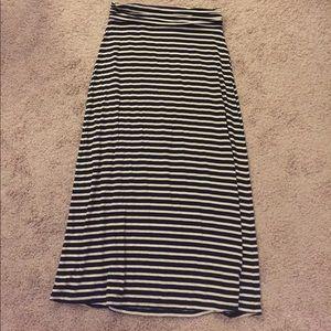 J Crew Navy/White Stripped Maxi Skirt Sz Small