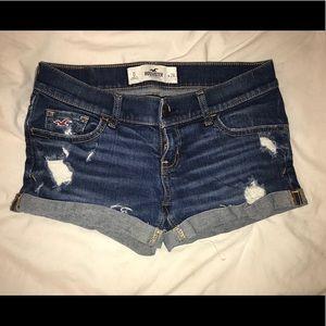 Hollister distressed shortie denim shorts