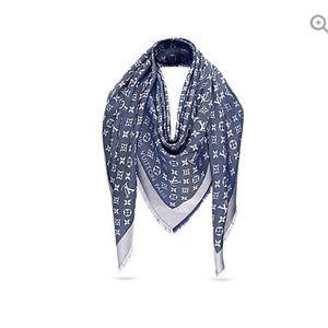 Louis Vuitton monogram denim shawl. Gently used.