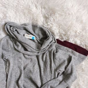 ANTHROPOLOGIE grey+maroon cowl sweater dress