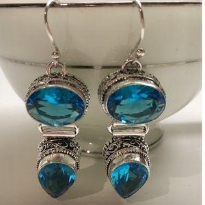 Jewelry - NEW! ST Silver 925 Blue Topaz Drop Earrings