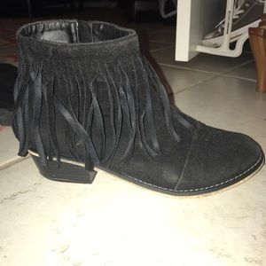 Black fringe ankle booties