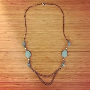 Boho long pullover turquoise beaded necklace