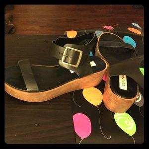 Steve Madden Platform Sandals with Gold Buckle