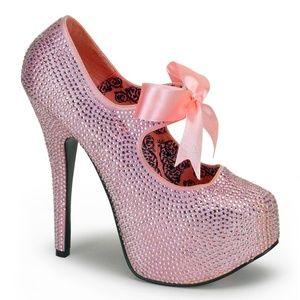 Stiletto High Heels Bow Shoes Pink Rhinestone