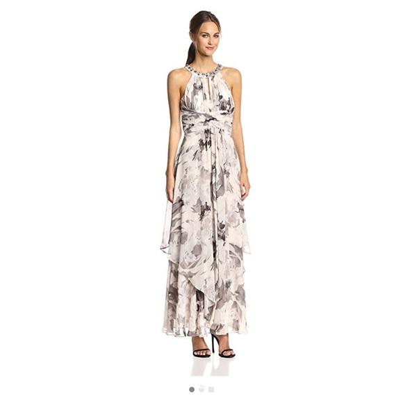 Eliza J Halter Criss Cross Waist Floral Maxi Dress