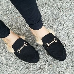 Faux fur lined loafers