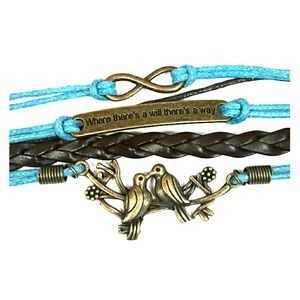 Jewelry - Turquoise and Brown Layered Charm Bracelet
