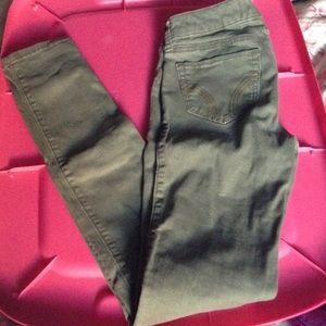 Hollister olive green super skinny jeans