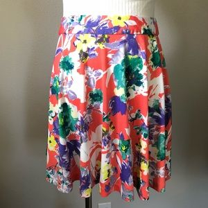 Coral Floral Skirt