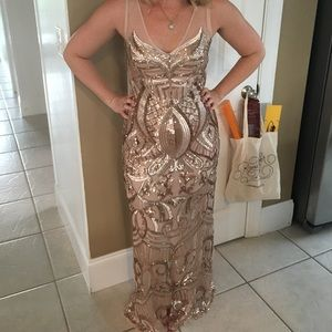 Adrianna Papell rose gold/gold evening gown