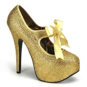 Platform Stiletto High Heel Shoe Gold Rhinestone