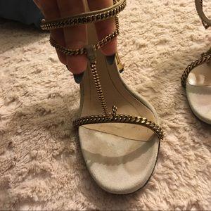 Gucci Ophelie bronze/gold & beige heels 37