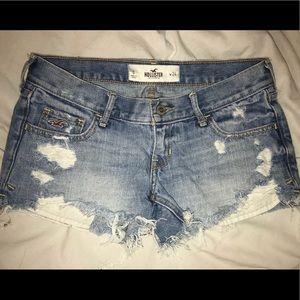 Hollister distressed light wash shorts