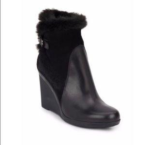Aquatalia Suede & Leather Faux Fur Trim Bootie