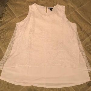 Alfani White Lace Overlay Tank