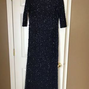 Adrianna Papell Navy Sequin Gown