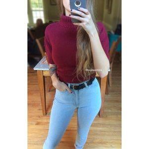 🍂 Vintage Burgundy Turtleneck Sweater Tee 🍂