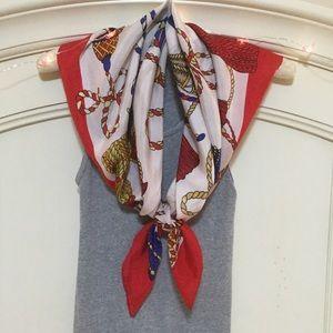 Silk ornate tassel print scarf