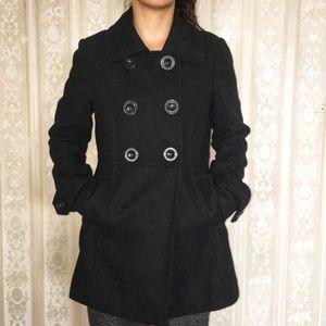 Foreign Exchange Black Peacoat Wool Princess Cut