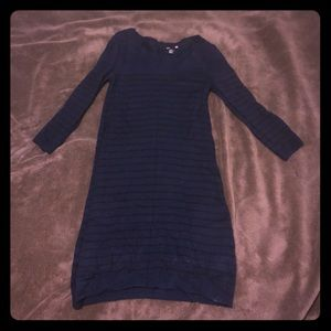 Blue and black striped sweater dress