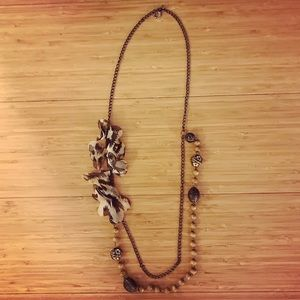 Boho long pullover wooden brown beaded necklace