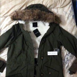 Forever 21 furry jacket/ olive