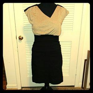 Gold & Black Midi Dress