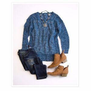 Lucky Brand Open Weave Blue Sweater