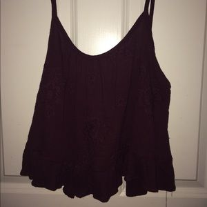 Kendall and Kylie collection maroon tie crop top