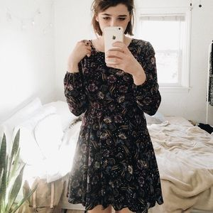 F21 Long Sleeve Eclectic Floral Dress
