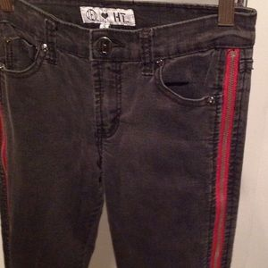 Washed Black Denim w/Red Zippers on the sides