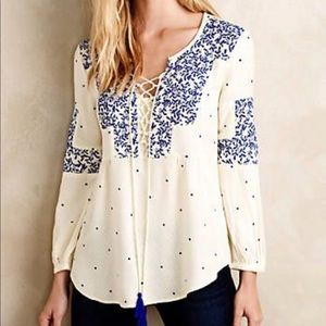 Anthropologie Embroidered polka dot top