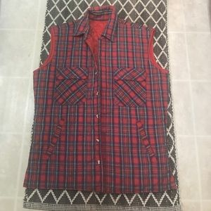 Vintage Red tartan Plaid Flannel Quilted Vest Red