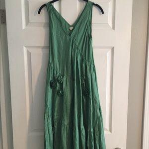 Chan Luu Small Green Silk Rosette Dress Designer