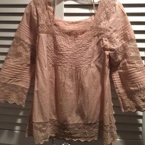 blush pink anthropologie blouse