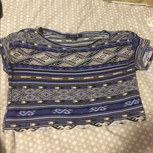 Forever 21 tribal crop t-shirt