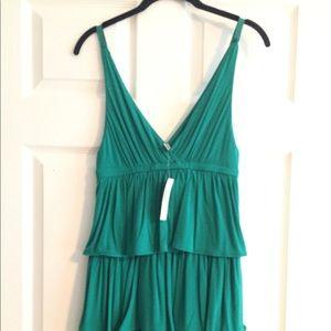 J. Crew Small Green Tiered Jersey Dress