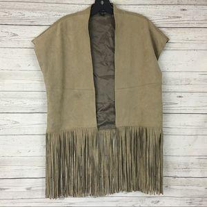 Karen Kane faux suede fringe brown open vest