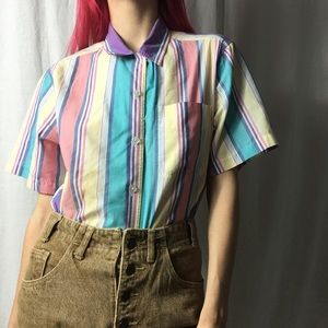 Vintage Striped Button down Top