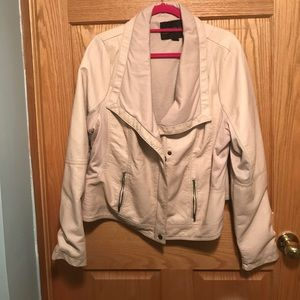 Forever 21 faux cream leather jacket