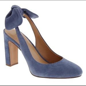 Blue suede sling backs with bow