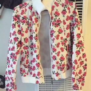 Floral Flower Print Bomber Jacket with Pink Roses