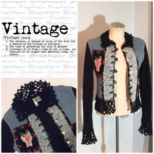 Unique Vintage Denim Crochet Jacket