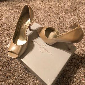 J Simpson Ivory Pearlized Patent Leather Peep Toe