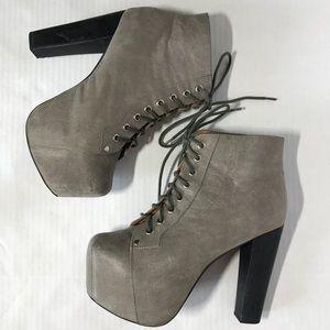 Jeffrey Campbell Lita Gray Platform Boots Leather