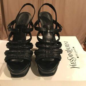 YSL Hamptons 105 Sandal Indian Nero Black 39 Heels