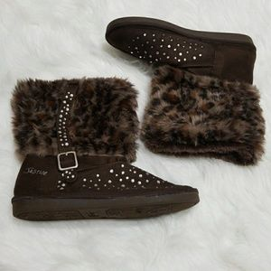 Justice brown faux fur rhinestone boots