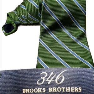 Brooks Brothers Mens Tie Green Blue 346 Pure Silk